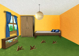 Fußbodenaufkleber | Dino-Fußspuren