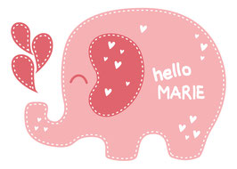 Wandaufkleber | Elefant - Hello - personalisierbar