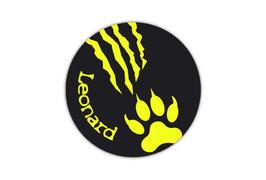 Namensaufkleber Neongelb  rund  | Tiger Kralle