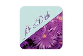 Geschenkaufkleber - eckig | purpur Astern - Für Dich
