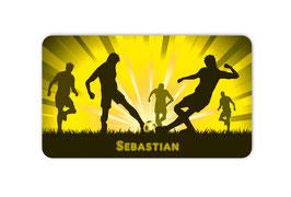 Brotdosenaufkleber | Fußballspieler - gelb
