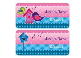 Namensaufkleber 3,0 x 6,5 cm | Sweety Bird - rosa blau
