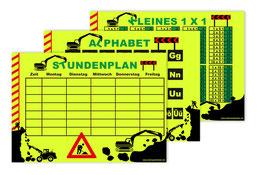 3 er Schulset: NEON Stundenplan + Lernposter | Baustelle - wiederbeschreibbar