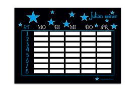 A4 Stundenplan | Sterne schwarz-blau