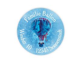 Adressaufkleber rund  | Heißluftballon
