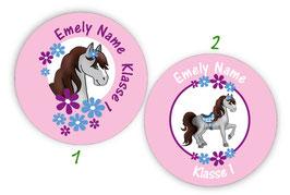 Namensaufkleber rund | Pony Blumen - rosa