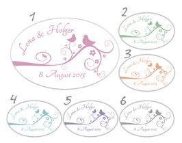 Hochzeitsaufkleber - oval | Tauben auf Blumenranke - weiß