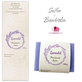 8 Seifenbanderolen | Lavendel Kranz - personalisierbar & transparente Klebepunkte