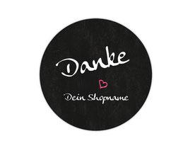 Handmade Aufkleber - rund  | Chalkboard - Danke - Herz pink - personalisierbar mit deinem Shopnamen