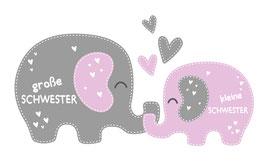Geschwister - Wandaufkleber | Elefanten | große Schwester - kleine Schwester