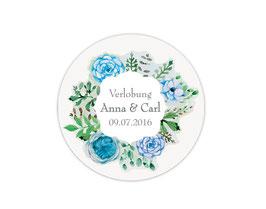 Hochzeitsaufkleber | Blumenkranz Rosen - blau