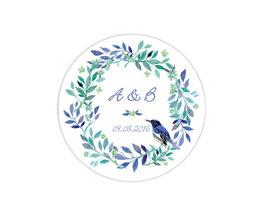 Hochzeitsaufkleber | Kranz mit Vogel - blau