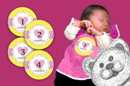 Baby Meilenstein Aufkleber | 1-4 Wochen -  Herzchen - gelb rosa
