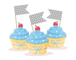 Kuchenfähnchen - selbstklebend  | Wimpel - Sternchen - grau