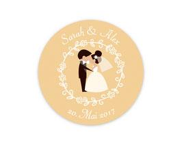 Hochzeitsaufkleber | Brautpaar - Kuss -  beige