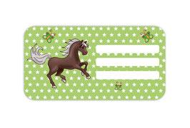 Heftaufkleber 4,4 x 8,4 cm | Pferd Sterne - grün