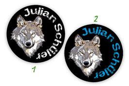 Namensaufkleber rund | Wolf