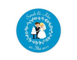 Hochzeitsaufkleber | Brautpaar mit Hochzeitstorte - blau