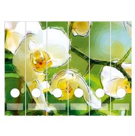 6er Set Ordnerrückenaufkleber | Orchidee weiß