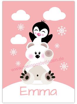 Namensposter - Eisbär und Pinguin - rosa