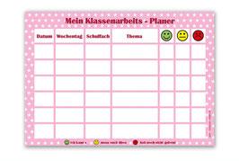 A4 Klassenarbeitsplaner - abwaschbar | Sternchen - rosa