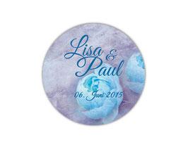 Hochzeitsaufkleber | Vintage Rose - blau