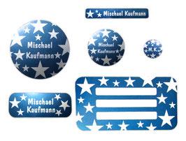 Schulaufkleber-Set Silberfolie | Sterne blau