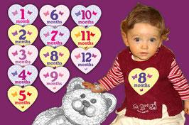 Baby Meilenstein Aufkleber | Herz mit Schmetterlinge 1 - 12 Monat