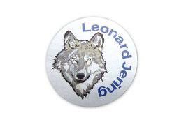 Namensaufkleber Silberfolie rund  | Wolf
