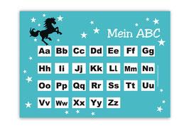 ABC Lernposter | Wildpferd - türkis