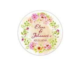 Hochzeitsaufkleber | zarter Blütenkranz