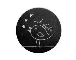 Handmade Aufkleber - rund    Chalkboard - Vögelchen - mit Liebe