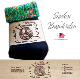 6 Sockenbanderolen | Handmade - personalisierbar & transparente Klebepunkte