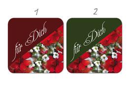 Geschenkaufkleber - eckig | rote Pelargonien - Für Dich