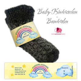 6 Sockenbanderolen |  Kuschelsocken - Regenbogen gelb - personalisierbar & transparente Klebepunkte
