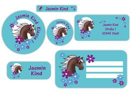 Schulaufkleber - Set | Pony Blumen - türkis