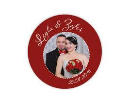 Hochzeitsaufkleber | personalisierbar mit Foto - rot