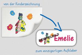 Namensaufkleber eckig - 2 x 5 cm   mit eigener Kinderzeichnung