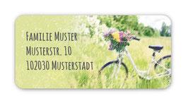 Adressaufkleber eckig  | Fahrrad mit Blumen 2