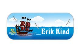Namensaufkleber 2 x 5 cm | Piratenschiff