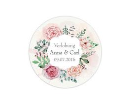 Hochzeitsaufkleber | Blumenkranz Rosen - rosa