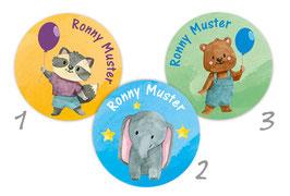 Namensaufkleber rund | Kleine Freunde - Waschbär, Elefant & Bär