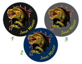 Namensaufkleber rund | T-Rex