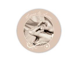 Hochzeitsaufkleber | Blumenornament Ehering - personalisierbar mit Foto