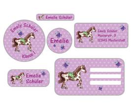 Schulaufkleber - Set | Pferd Herzen - lila