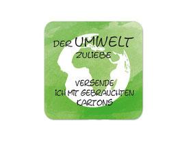 Verpackungsetiketten eckig | Der Umwelt zuliebe - Erde grün