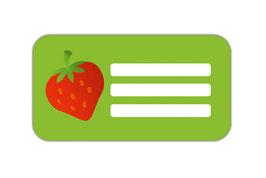 Heftaufkleber 4,4 x 8,4 cm | Erdbeere
