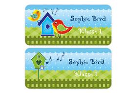 Namensaufkleber 3,0 x 6,5 cm | Sweety Bird - blau grün