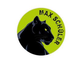 Namensaufkleber rund | Schwarzer Panther