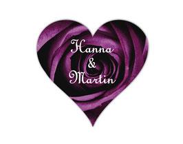Hochzeitsaufkleber Herz  | romantische Rosen - lila